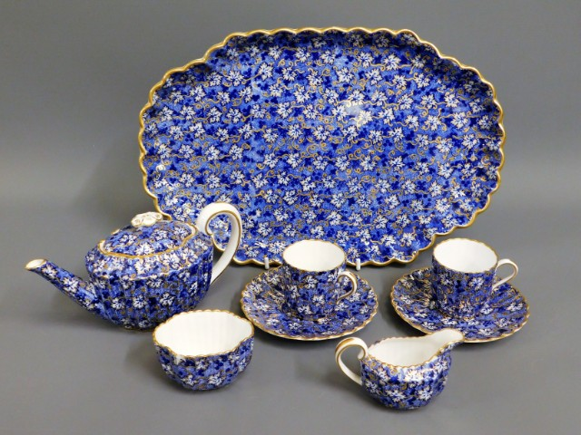 A blue & white with gilding Spode tea set for two,