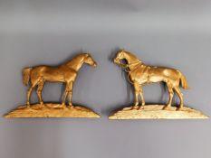 Two gilt bronze plaques depicting famous thorough