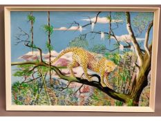 A 1970's naive style oil on canvas of leopard in t