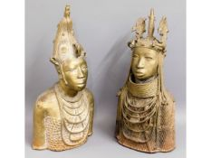 A pair of large, heavy, bronze African tribal art