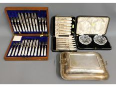 An oak cased 24 piece mother of pearl & silver fis