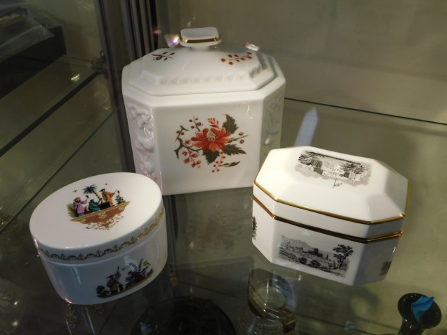 Three Royal Worcester porcelain caskets with cover