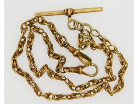A 9ct gold double ended Albert chain, 20.3g, 17.5i