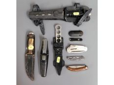 A selection of knives including divers, smokers kn