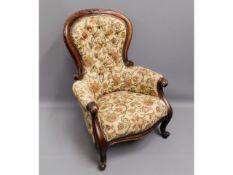 A 19thC. Victorian walnut armchair, 41.5in high to