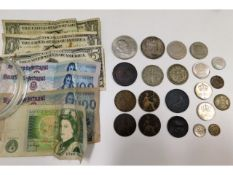 A small collection of mixed bank notes & coinage