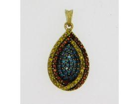 A 9ct gold pendant set with lemon, cinnamon & blue