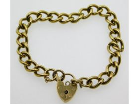 A 9ct gold bracelet with padlock clasp, 25.5g, 8in