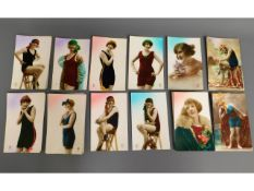 Fifty five French postcards, many depicting ladies in swimwear, some repeated