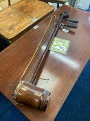 A Chinese snakeskin erhu with bow, both a/f, 30.5i