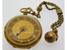 An antique 18ct gold pocket watch, case 40.2mm dia