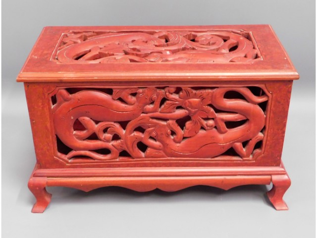 A painted Oriental style fretwork casket, 19.75in