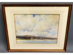 A framed Newlyn School watercolour of Praa Sands,