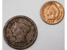 An 1847 US one cent twinned with an 1887 one cent