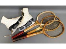Three vintage tennis rackets & a pair of ice skate