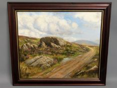 An unsigned, framed Dartmoor oil painting