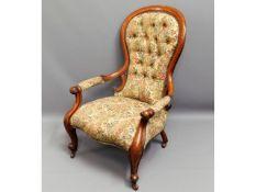 A 19thC. Victorian oak armchair, 39.5in high to ba