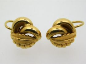 A pair of decorative 18ct gold earrings, 5g