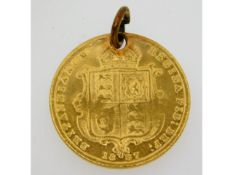 An 1887 Victorian half gold sovereign with pierced