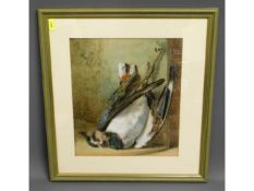 A later framed watercolour still life of game, ima