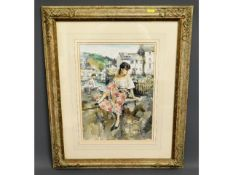 A Gordon King framed watercolour of a girl on wall