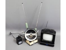 A portable 5in television with aerial booster