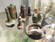 A Cornish serpentine pot & cover, 4in tall, twinne