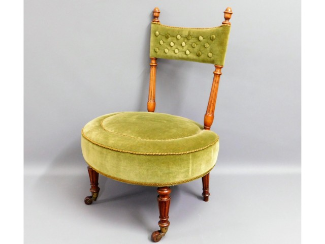 A Victorian upholstered nursing chair