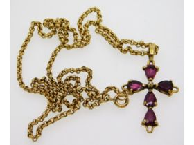 A 9ct gold necklace with cross set with ruby & dia