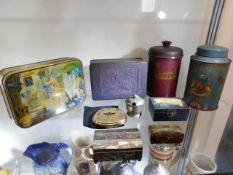 Vintage tins, storage tins & other items including