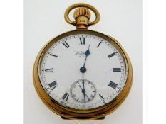 A Waltham 9ct gold top wind antique pocket watch 93.7g, 49mm, runs when wound