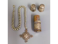 A St. John's Ambulance silver medal, two thimbles,