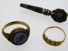 A 19thC. yellow metal seal ring, electronically te