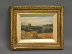 An antique landscape oil painting of field being h