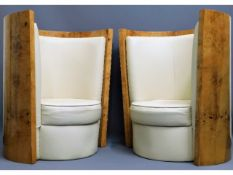 A pair of 1930's art deco bucket chairs with walnu
