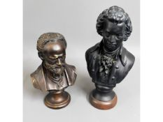 Two decorative busts depicting composers Mozart &