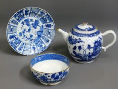 A 19thC. Chinese blue & white teapot (damaged) twi