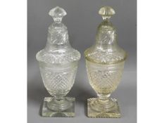 A pair of matched 19thC. English hand cut glass sw