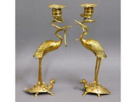 A c.1890 Chinese pair of brass turtle, crane & ser