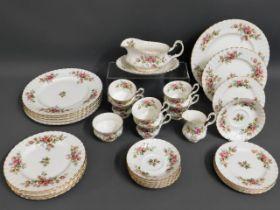 A quantity of Royal Albert Moss Rose porcelain tea