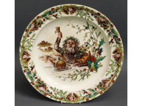 A Victorian Christmas pudding plate, date mark for