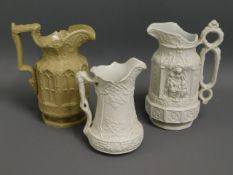 Three early/mid 19thC. ceramic jugs, one to the fo