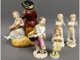 A 19thC. Plaue porcelain figure group 6.75in tall