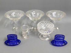 Four 19thC. cut glass sweetmeats, an early 19thC.