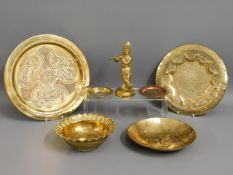 An antique Tibetan brass figure, a Chinese pin dis
