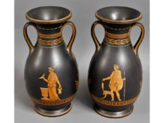 A pair of 18thC. Wedgwood encaustic decorated basa