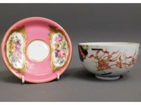 A 19thC. gilded Sevres porcelain saucer with inter