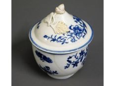 An 18thC. hand painted blue & white bowl with oak