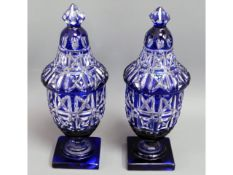 A pair of 19thC. English blue overlay hand cut gla