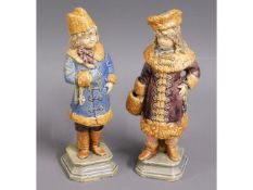 Two 19thC. Bohemian majolica figures, 7.5in tall